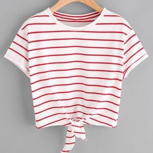 KNOT FRONT TEE CUFFED SLEEVE STRIPED TEE